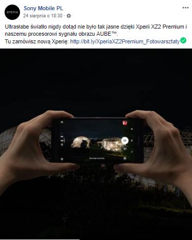 Sony Xperia XZ2 - zdjęcia robione w ciemności